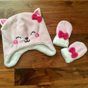 Carters Pink Fleece Hat & Gloves